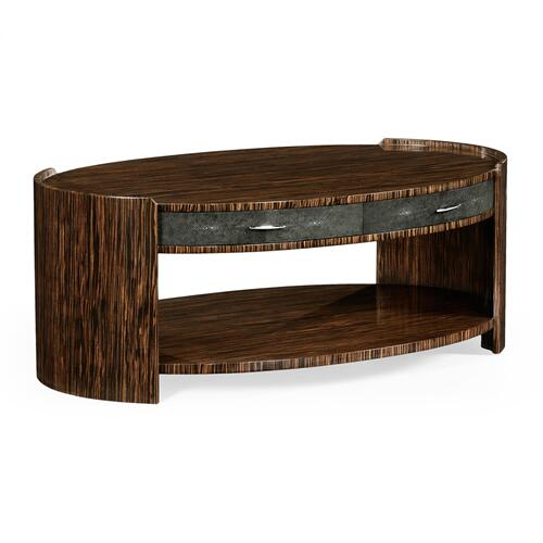 Anthracite faux shagreen & macassar ebony oval coffee table