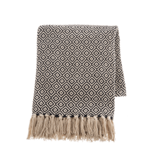 See Details - Black & Natural Diamond Woven Throw