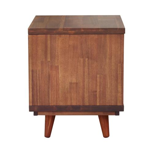 New Pacific Direct - Piero KD Chevron Night Stand/ Side Table, Monterey Brown