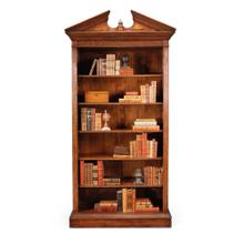 Walnut open bookcase with pediment