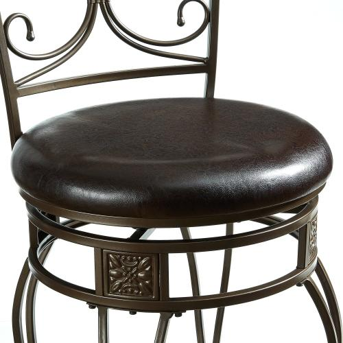 Upholstered Seat and Back Scroll Counter Stool, Dark Bronze and Dark Brown