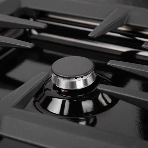 """ZLINE 36"""" Dropin Cooktop with 6 Gas Burners and Black Porcelain Top (RC36-PBT) [Color: Stainless Steel Black Finish]"""