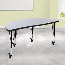 "Mobile 47.5"" Half Circle Wave Collaborative Grey Thermal Laminate Activity Table - Height Adjustable Short Legs"