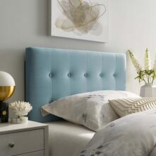 Emily Twin Biscuit Tufted Performance Velvet Headboard in Light Blue