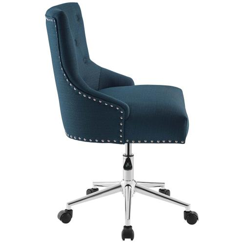 Regent Tufted Button Swivel Upholstered Fabric Office Chair in Azure
