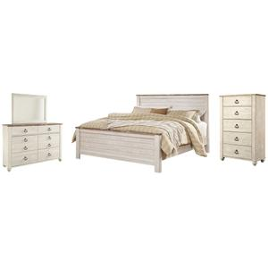 Ashley - King Panel Bed With Mirrored Dresser and Chest