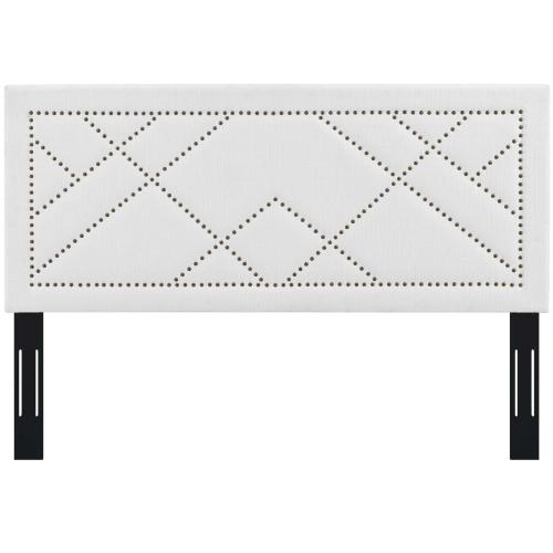 Reese Nailhead King and California King Upholstered Linen Fabric Headboard in White