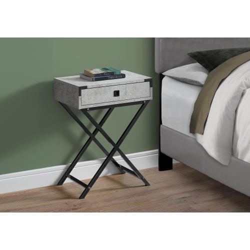 """Gallery - ACCENT TABLE - 24""""H / GREY CEMENT / BLACK NICKEL METAL"""