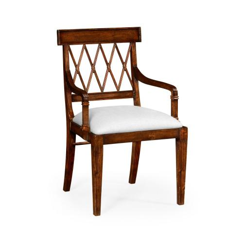 Regency Style Lattice Back Dining Armchair - COM
