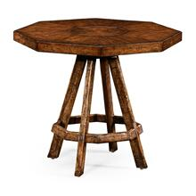Planked walnut rustic side table with octagonal top