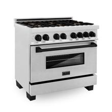"""See Details - ZLINE Autograph Edition 36"""" 4.6 cu. ft. Dual Fuel Range with Gas Stove and Electric Oven in DuraSnow® Stainless Steel with Accents (RASZ-SN-36) [Color: Matte Black]"""