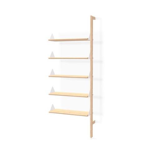 Product Image - Branch Shelving Unit Add-On Blonde Uprights White Brackets Blonde Shelves