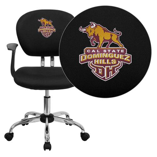 California State University - Dominguez Hills Toros Embroidered Black Mesh Task Chair with Arms and Chrome Base
