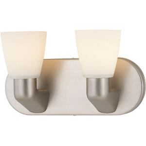 2-lite Vanity Wall Lamp, Ss W/frost Glass Shade, A 60wx2