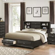Loiret Antique Grey Finish Wood QUEEN & KING Size Storage Platform Bed, King