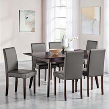 Prosper 7 Piece Faux Leather Dining Set in Cappuccino Gray