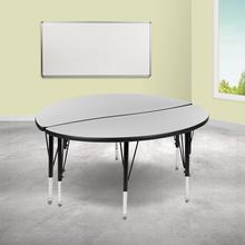 """See Details - 2 Piece 47.5"""" Circle Wave Flexible Grey Thermal Laminate Activity Table Set - Height Adjustable Short Legs"""