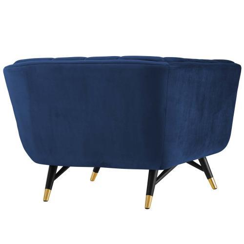 Adept Performance Velvet Armchair in Midnight Blue