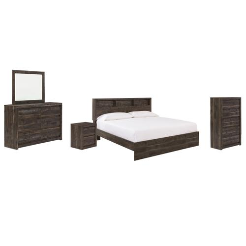 King Bookcase Panel Bed With Mirrored Dresser, Chest and Nightstand