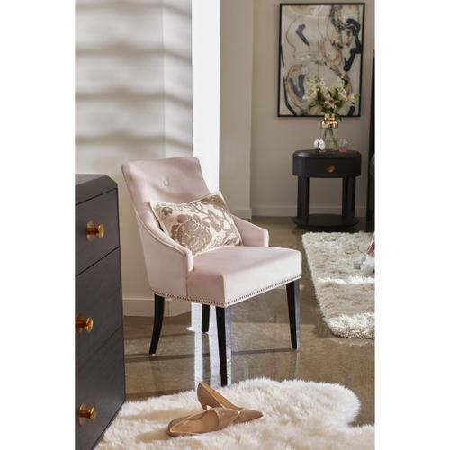 Nailhead Trimmed Upholstered Dining Chair in Blush Pink
