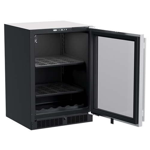 Marvel - 24-In Built-In Beverage Center With Wine Cradle with Door Style - Stainless Steel Frame Glass