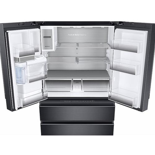 23 cu. ft. Counter Depth 4-Door French Door Freestanding Chef Collection Refrigerator in Matte Black Stainless Steel