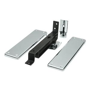 Deltana - Spring Hinge, Double Action w/ Solid Brass Cover Plates - Polished Chrome