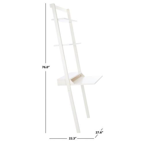 Pamella 2 Shelf Leaning Desk - White