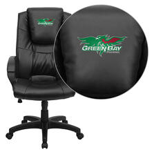 Wisconsin - Green Bay Phoenix Embroidered Black Leather Executive Office Chair