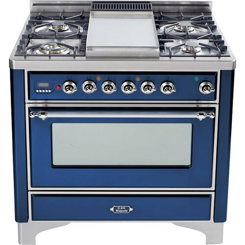 Ilve - Midnight Blue with Chrome trim - Majestic 36-inch Range with Griddle