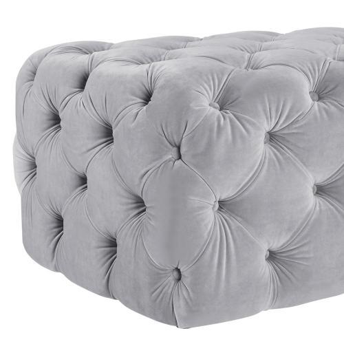 Kaylee Jumbo Grey Velvet Ottoman
