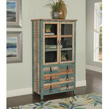 See Details - 6-drawer and 2 Glass Doors High Curio Cabinet, Colorful