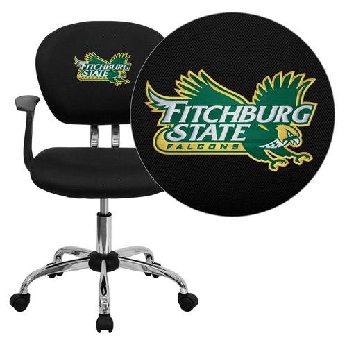 Fitchburg State University Falcons Embroidered Black Mesh Task Chair with Arms and Chrome Base
