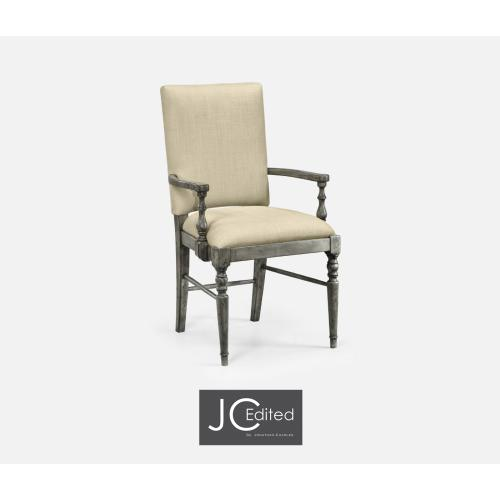 Antique Dark Grey Armchair, Upholstered in MAZO