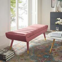 Guess Channel Tufted Performance Velvet Accent Bench in Dusty Rose