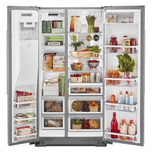 KitchenAid - 19.9 cu ft. Counter-Depth Side-by-Side Refrigerator with Exterior Ice and Water and PrintShield™ finish - Stainless Steel with PrintShield™ Finish