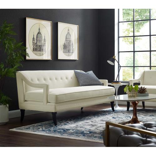 Concur Button Tufted Performance Velvet Sofa in Ivory