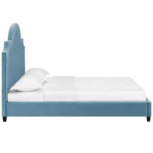 Primrose Queen Performance Velvet Platform Bed in Sea Blue