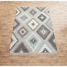 Hand Woven Blue & Naturall 5' x 8' Tribal Rug