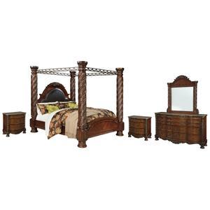 California King Poster Bed With Canopy With Mirrored Dresser and 2 Nightstands