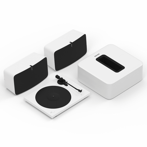 White- Elevate your listening experience with brilliant stereo sound and rich bass for vinyl and streaming.
