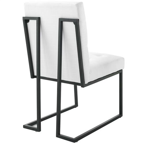Privy Black Stainless Steel Upholstered Fabric Dining Chair in Black White