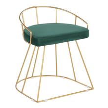 View Product - Canary Vanity Stool - Gold Metal, Green Velvet