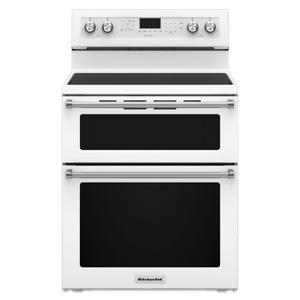 KitchenAid30-Inch 5 Burner Electric Double Oven Convection Range - White