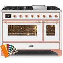 Majestic II 48 Inch Dual Fuel Liquid Propane Freestanding Range in Custom RAL Color with Copper Trim