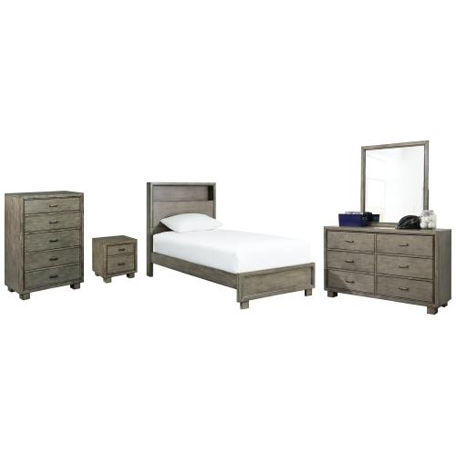 Product Image - Twin Bookcase Bed With Mirrored Dresser, Chest and Nightstand