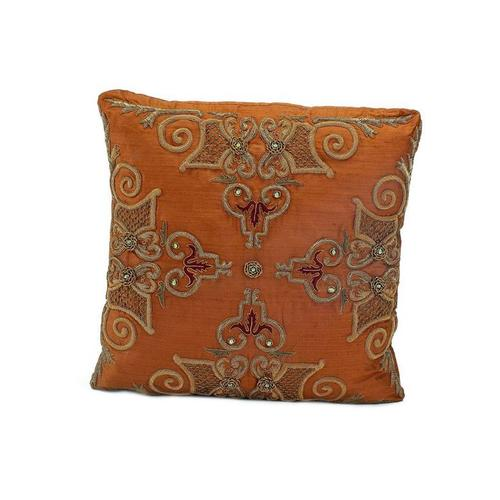 Copper Silk Heavily Embroidered Pillow