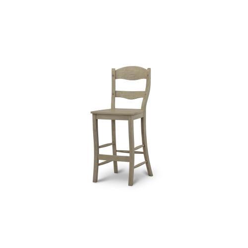 Peg & Dowel Ladder Back Barstool w/ Wooden Seat
