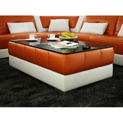 Divani Casa EV28 Modern Orange and White Bonded Leather Coffee Table w/ Glass Top