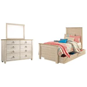 Twin Panel Bed With 1 Storage Drawer With Mirrored Dresser